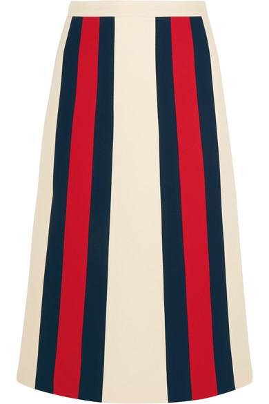Gucci - Striped Wool And Silk-blend Crepe Skirt - Ecru