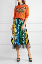Gucci Pleated sequined tulle midi skirt