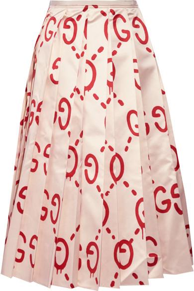Gucci - Pleated Printed Duchesse Silk-satin Midi Skirt - Beige