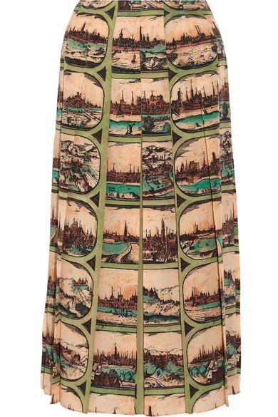 Gucci - Pleated Printed Silk Midi Skirt - Cream