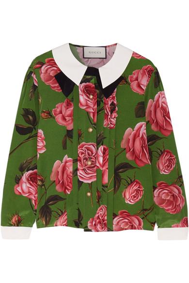 Gucci - Floral-print Silk Crepe De Chine Blouse - Green