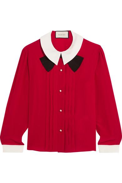 Gucci - Pleated Silk Crepe De Chine Blouse - Red