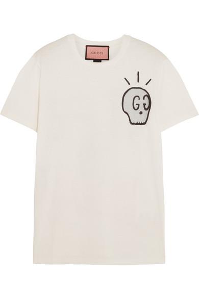 5e2310e1 Gucci | Life is Gucci printed cotton-jersey T-shirt | NET-A-PORTER.COM