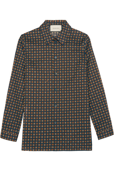 gucci female 236621 gucci printed cottonpoplin shirt navy