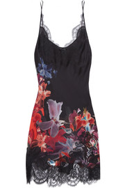 Lace-trimmed floral-print silk-satin chemise