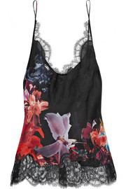 Lace-trimmed printed silk-satin camisole