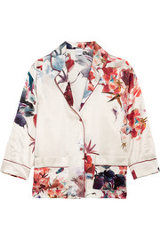 Printed silk-satin pajama shirt