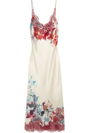 Chantilly lace-trimmed printed silk-satin nightdress