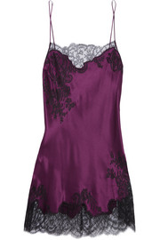 Carine Gilson Chantilly lace-trimmed silk-satin chemise
