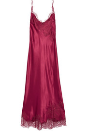 Lace-trimmed silk-satin nightdress