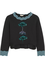 Fendi Embroidered flocked cotton-blend peplum sweatshirt