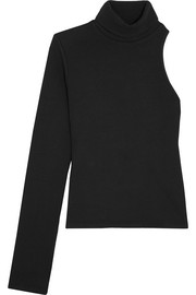 Portia one-shoulder ribbed-knit turtleneck sweater
