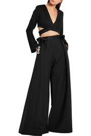 Tarvos cropped modal-neoprene wrap top