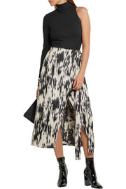 Sinope wrap-effect brushed-jacquard midi skirt