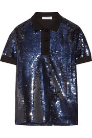Knit-trimmed sequined tulle polo shirt