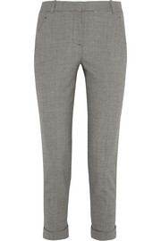 Cropped houndstooth wool-blend tapered pants