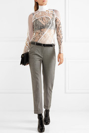 Carven Paneled lace, mesh and fil coupé turtleneck top