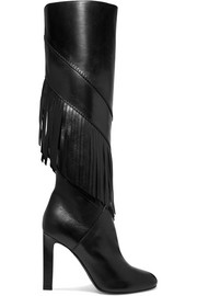 Saint Laurent Grace fringed leather knee boots