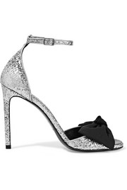 Saint Laurent Jane bow-embellished glittered satin sandals