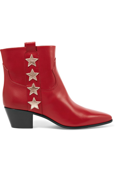 Saint Laurent. Star-appliquéd leather ankle boots