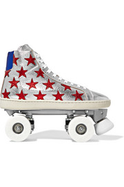 Appliquéd metallic textured-leather roller skates