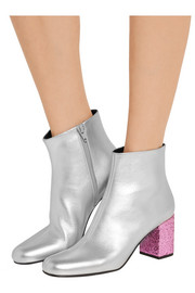 Saint Laurent Babies metallic leather ankle boots