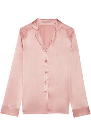 Chantilly lace-paneled silk-blend satin pajama shirt