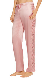 Chantilly lace-paneled silk-blend satin pajama pants