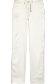Chiffon-trimmed stretch-silk satin pajama pants