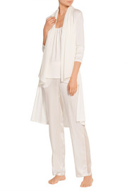 Chiffon-paneled stretch silk and cotton-blend cardigan