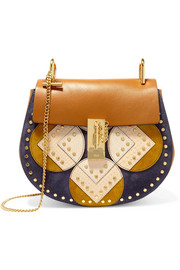 Chloé Drew small leather, suede and python shoulder bag
