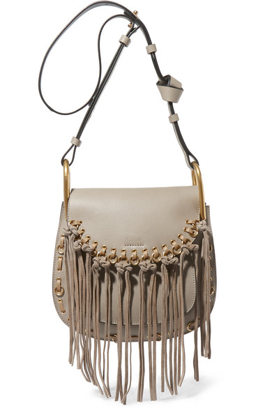 a8a66a69eb79 Chloé. Hudson small whipstitched tasseled leather shoulder bag