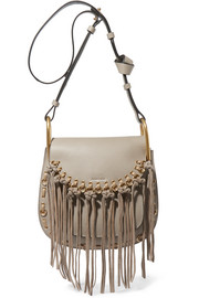 Hudson small whipstitched tasseled leather shoulder bag
