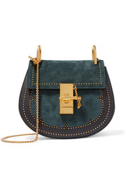 Chloé Drew mini studded suede and leather shoulder bag