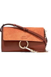 Faye mini leather and suede wallet
