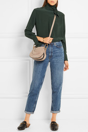 Hayley nano leather-trimmed suede shoulder bag