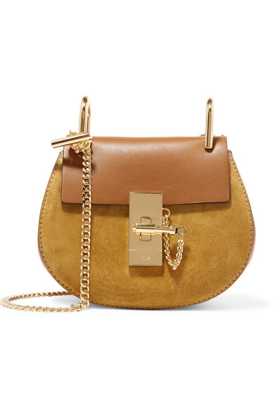 Chloé - Drew Nano Leather And Suede Shoulder Bag - Brown