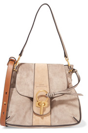 Chloé Lexa small leather-trimmed suede shoulder bag