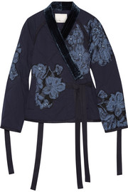 Floral-appliquéd velvet-trimmed cotton jacket