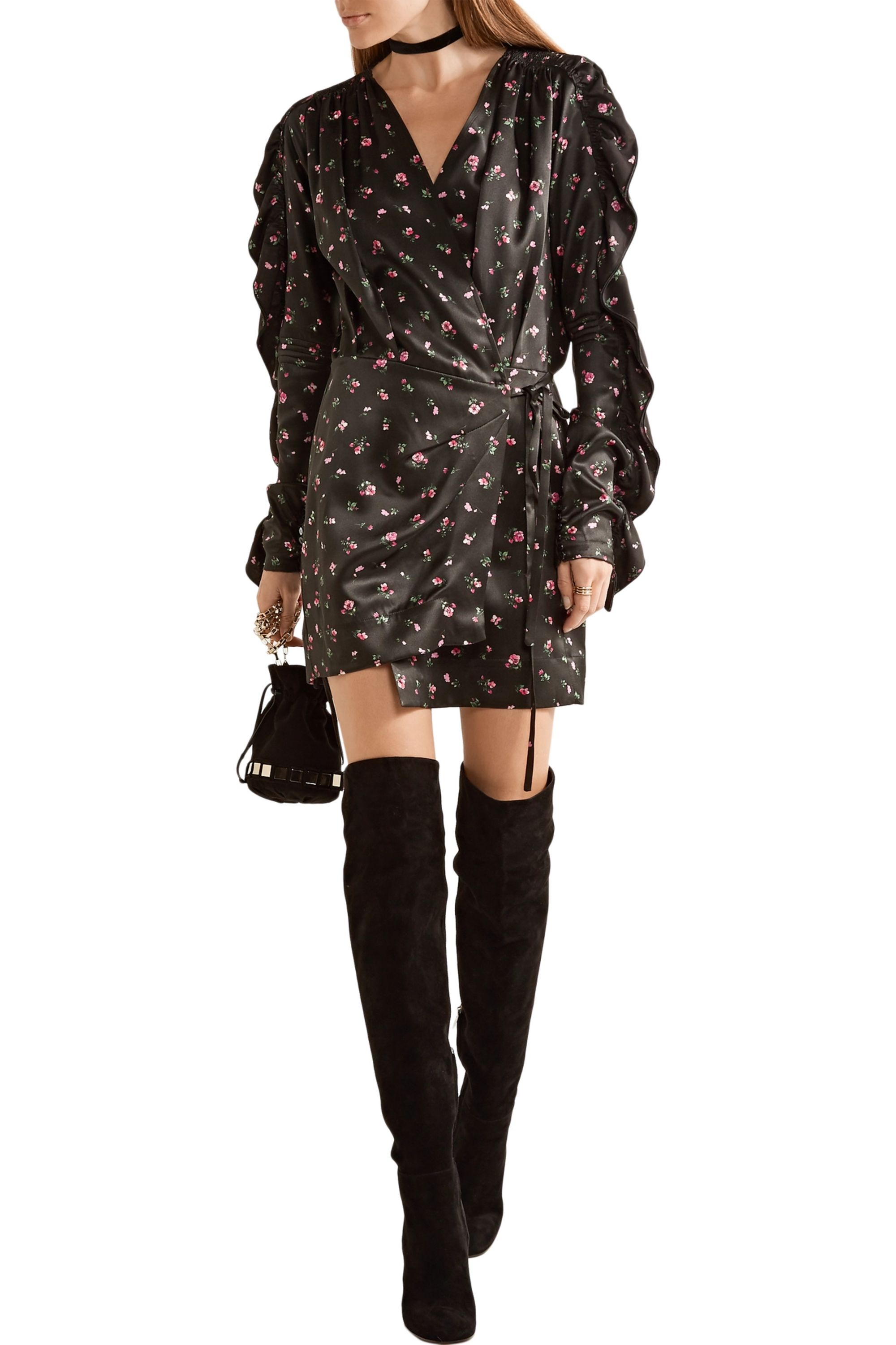 The Attico Stevie printed silk-satin wrap mini dress