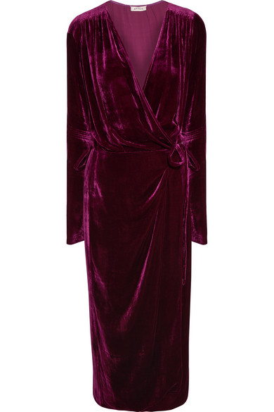 Attico - Jane Velvet Wrap Dress - Plum