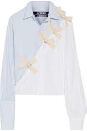Jacquemus Bow-embellished cotton Oxford and poplin shirt