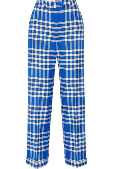 Jacquemus - Plaid Woven Straight-leg Pants - Bright blue