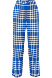 Plaid woven straight-leg pants