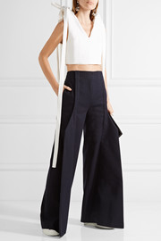 Cropped bow-embellished cotton-piqué top