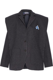 Pinstriped textured-crepe blazer