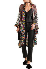 Duro Olowu Abstract Bird printed silk-georgette and satin kimono
