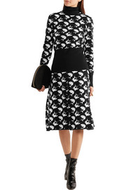 Pleated intarsia wool skirt