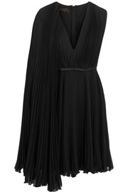 Satin-trimmed pleated silk-georgette dress