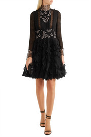 Giambattista Valli Ruffled guipure lace-trimmed silk-chiffon dress